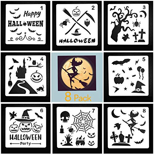 SHANGXING 8 Pieces Halloween Decor Journal Stencils DIY Drawing Template Craft Scrapbooking Cards Making Halloween Ideas, 5.1 X 5.1 Inch for $<!--$5.99-->