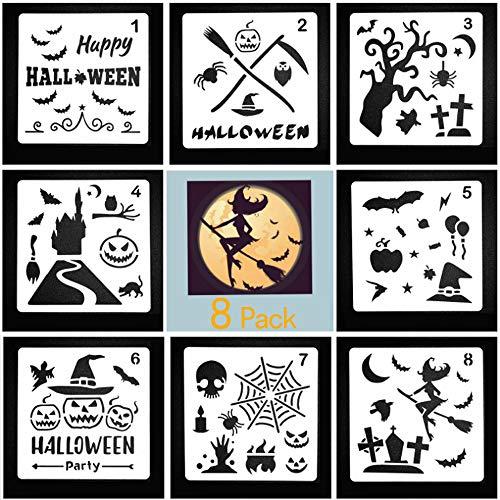 SHANGXING 8 Pieces Halloween Decor Journal Stencils DIY Drawing Template Craft Scrapbooking Cards Making Halloween Ideas, 5.1 X 5.1 Inch for $<!--$5.99-->