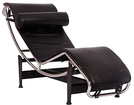 MLF Modern Style Chaise Lounge Chair(Multi Colors Available), Top Grain  Black Aniline