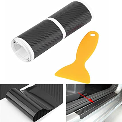 Yosoo 4Pcs Carbon Fiber Anti Scratch Car Door Sill Sticker Scuff Plate  Cover Panel Step Protector
