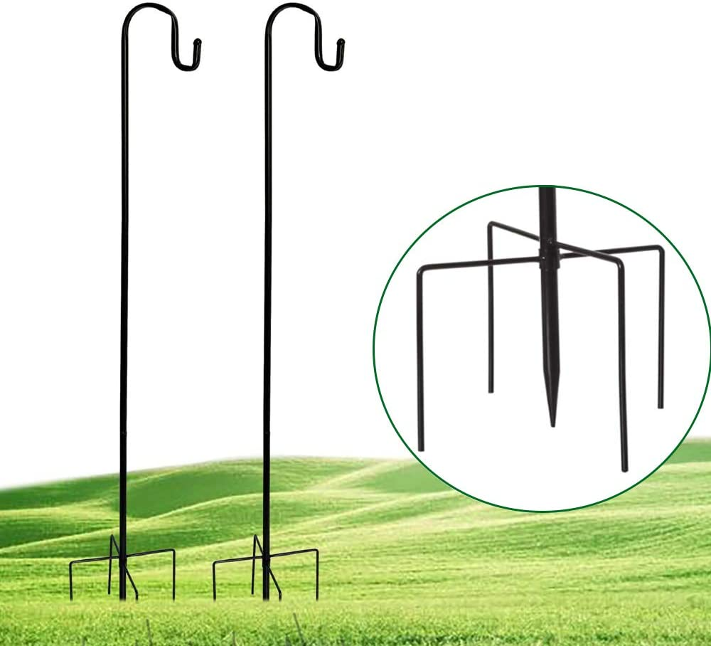 Shepherd's Hooks, 47 Inch 2Pack Shepherd Hook Made of Metal for for Outdoor Bird Feeders Hanger, Hanging Solar Lights, Mason Jars, Plant Hangers, Christmas Lights, Lanterns, Garden Stakes and Weddings