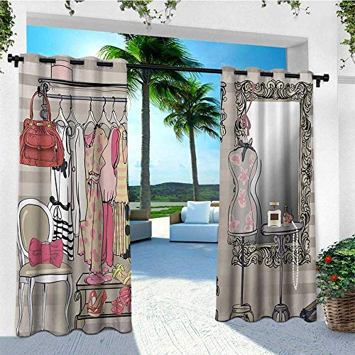leinuoyi Heels and Dresses, Outdoor Curtain Waterproof, Women Wardrobe Illustration Colorful Retro Interior with Stylish Clothes, Outdoor Privacy Porch Curtains W72 x L108 Inch Multicolor