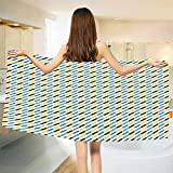 smallbeefly Modern Bath Towel Diagonal Stylized Different Colored Lines Striped Vintage Vibrant Bathroom Towels Yellow Black Sky Blue Purple Size: W 31.5'' x L 63''