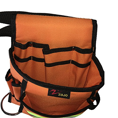 Reflective Electrical Maintenance Tool Pouch Bag Technician's Tool Holder Work Organizer for Roofers Maintenance Workers Construction Workers Plumbers Fits the Waist to 44 inch(Single Updated, Orange) by zojo (Image #3)