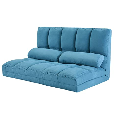 Double Chaise Lounge Sofa Chair Floor Couch with Two Pillows (Blue)