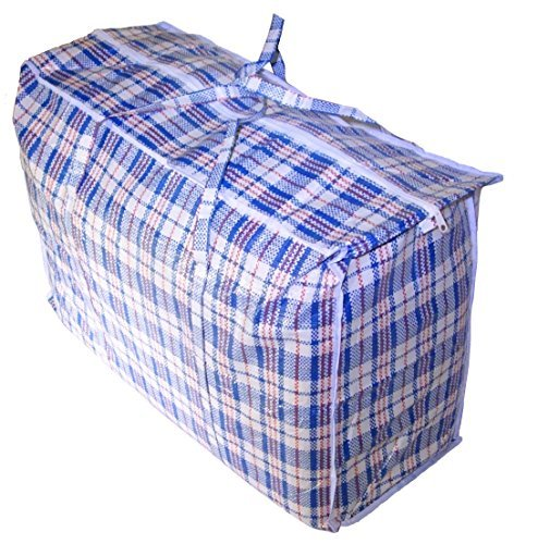 (Jumbo Plastic Checkered Storage Laundry Shopping Bags W. Zipper & Handles Size=27