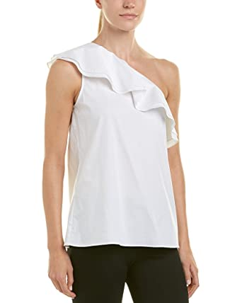 f1a0155b3455bd Vince Camuto Womens Sleeveless One-Shoulder Ruffled Blouse Ultra White LG  One Size