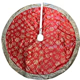 48 Inch Red Sparkly Glitter Tree Skirt with Silver Snowflakes