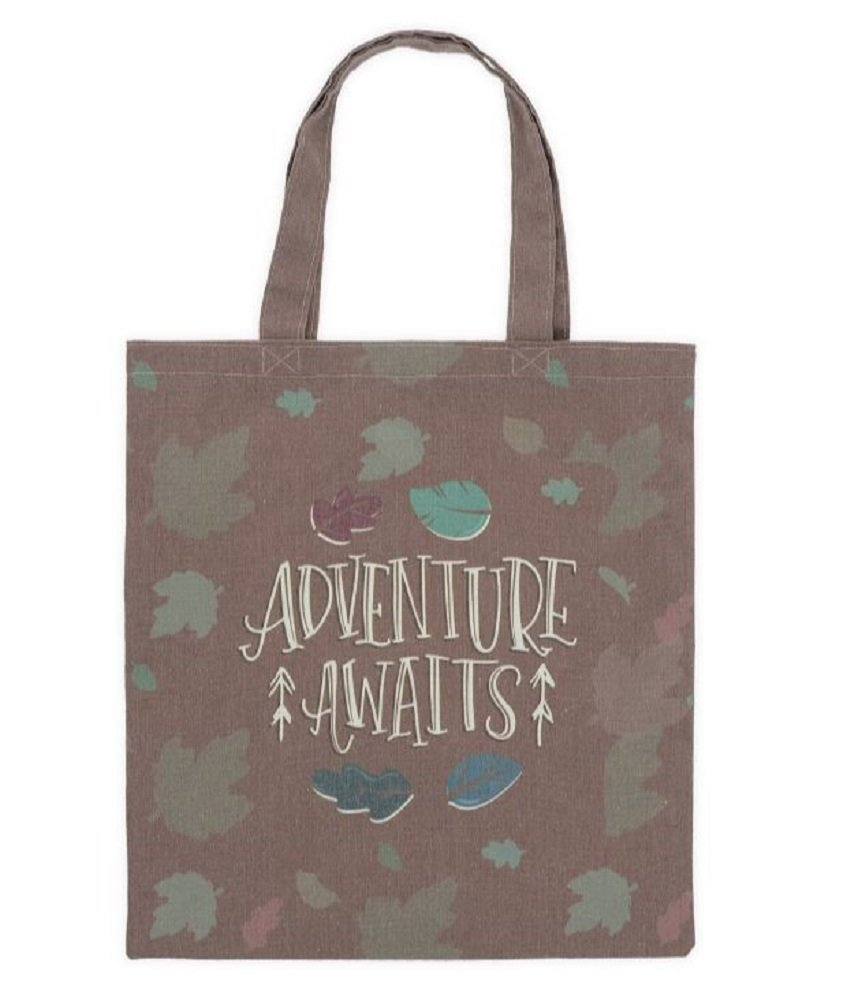 Adventure Awaits Brown Canvas Tote Bag, 16 3/4'' Tall X 15'' Wide.