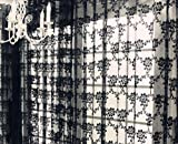"NAVA Black Sexy Rich Vintage French Lace Window Curtain Drape Panel Veil(59""X83"")"