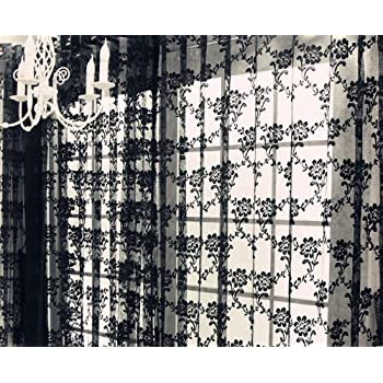 NAVAdeal 1 Panel Black French Lace Design Floral Pattern Sheer Window Curtain Panel Drape, Hangs On Rod Pocket, Elegant Decoration for Window, Living Room, Canopy Bed (59 x 83 Inch)