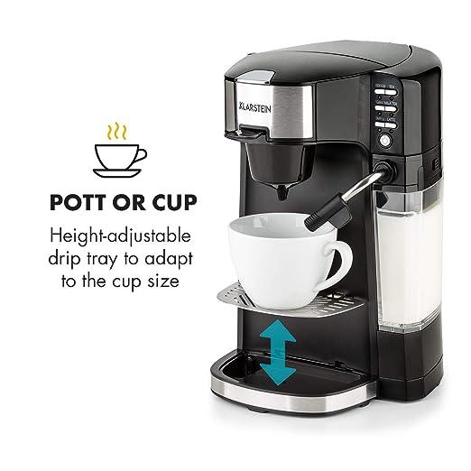 Klarstein Baristomat • Cafetera automática 2 en 1 • Máquina de café y té • Sin BPA • Espuma de leche • Vaporizador extraíble • 6 programas • Easy Brewing ...