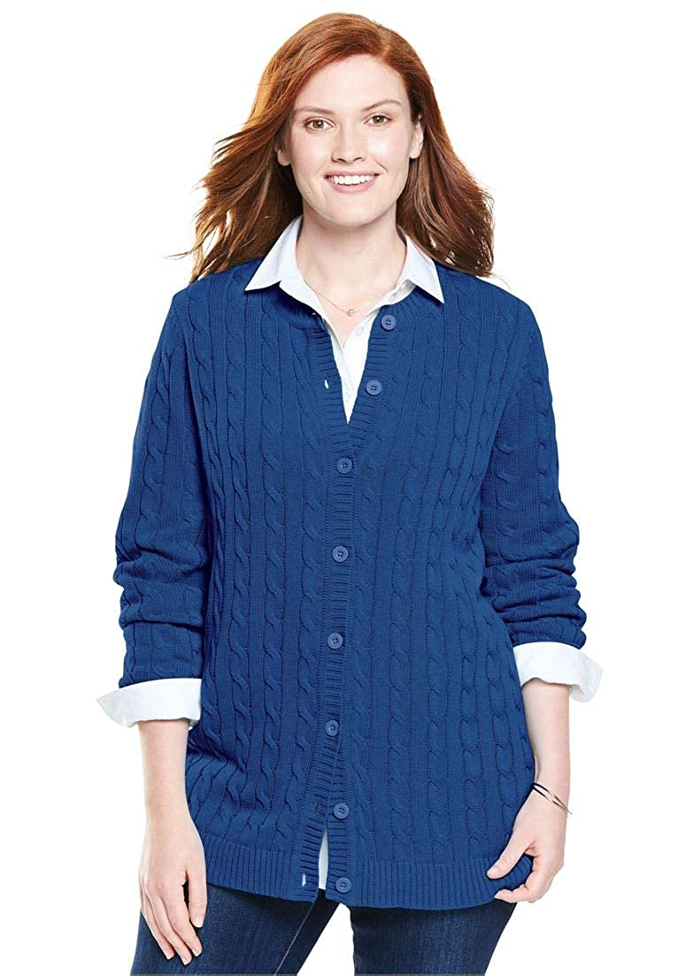 Woman Within Plus Size Cable Cardigan
