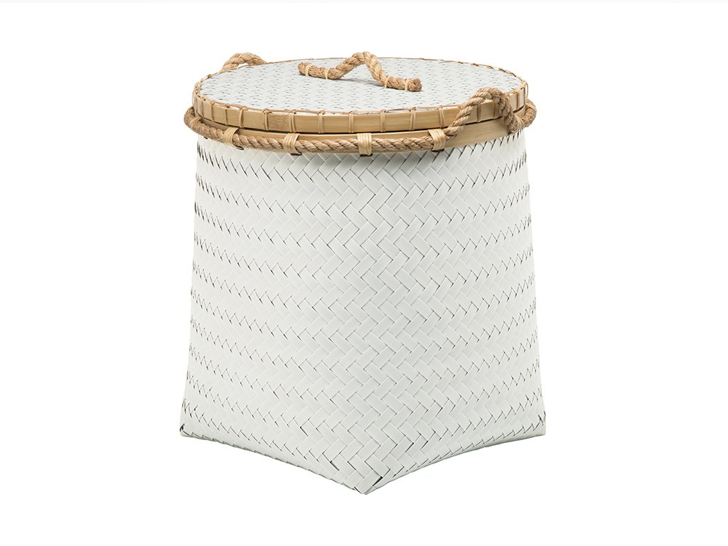 Kouboo 1060114 Round Tall Storage Basket and Hamper - Diameter 18 inches x 19.5 inches tall Hand woven from plastic strapping band, bamboo and jute rope Wipe clean with damp cloth - laundry-room, hampers-baskets, entryway-laundry-room - 611VCbUd5lL -
