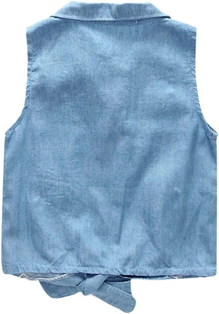 Tanhangguan 2Pcs Baby Girl Clothes Stars Buttons Denim Sleeveless T-Shirt Top and Flower Tutu Tulle Skirt Outfits Set