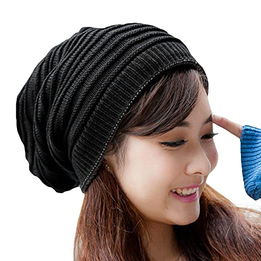 Locomo Women Girl Striped Stripes Pattern Slouchy Knit Beanie