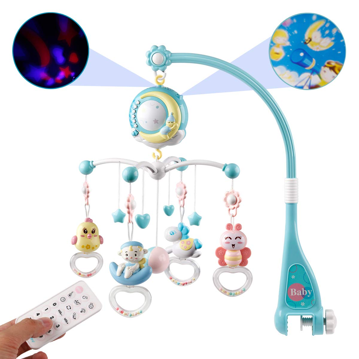 Mini Tudou Baby Musical Mobile Crib with Music & Lights, Timing Function, Projection, Take-Along Rattle & Music Box for Babies Boy Girl Toddles Sleep