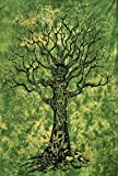 Popular Handicrafts Tree Of Life Green Tie Dye Bohemian Psychedelic Intricate Floral Design Indian Bedspread Tapestry 54x84 Inches,(140cmsx215cms) Green