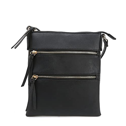 a561dfa818 DELUXITY Essential Casual Functional Multi Pocket Crossbody Purse Bag for  Women (Black)