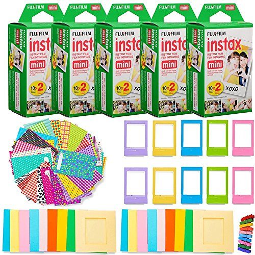 Fujifilm Instax Mini Instant Film (5 Twin Packs, 100 Total Pictures) + 120 Sticker Frames + 10 Plastic Desk Frames + 20 paper frames + Micro-fiber Cleaning - Photo Instant Frames