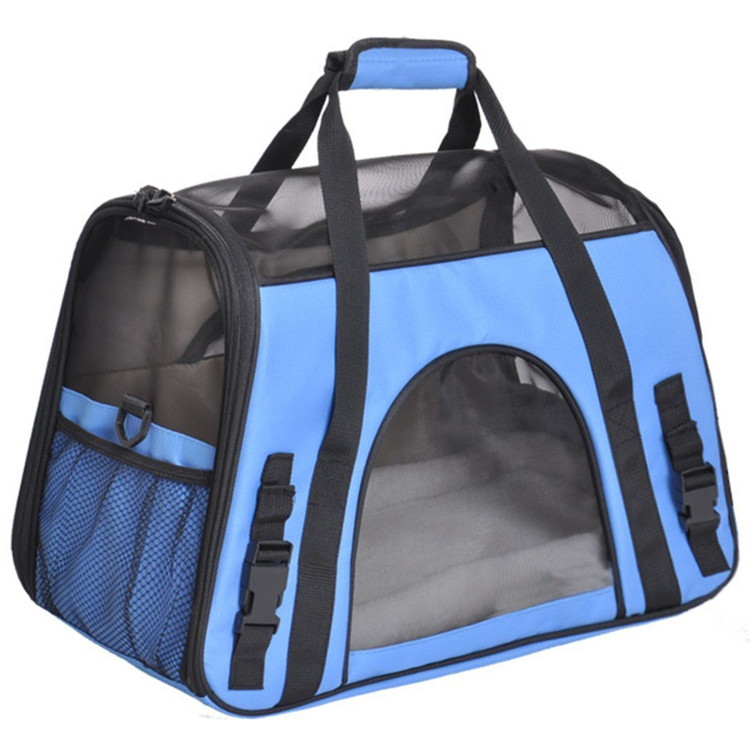 bluee CHONGWFS Dog Carrier Pet Travel Bag Airline Approved of Oxford Fabric Lightweight Strong Breathable (color   bluee)