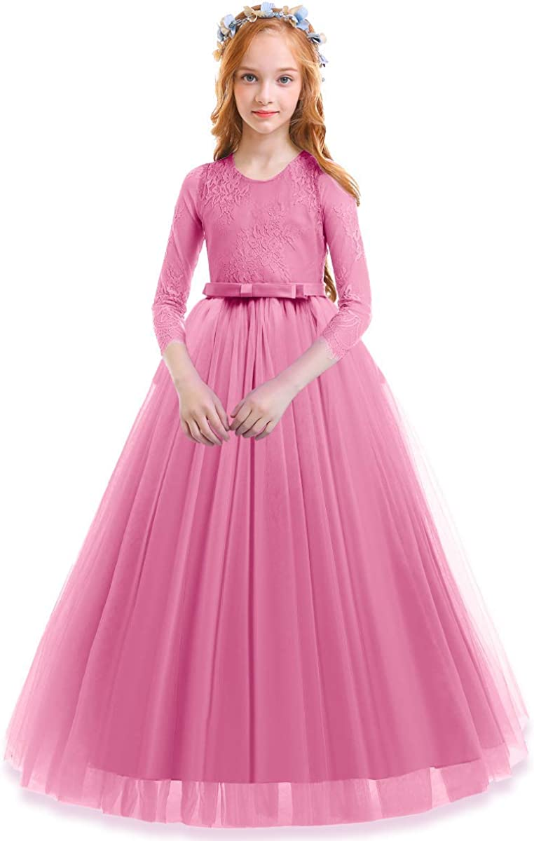 Amazon Com Kids Flower Tulle Lace Dress For Girl Party Fall Wedding Dance Evening Princess Long Sleeves Ball Maxi Gowns Clothing