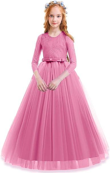 Amazon.com: Vestido de encaje de tul para niña, fiesta ...