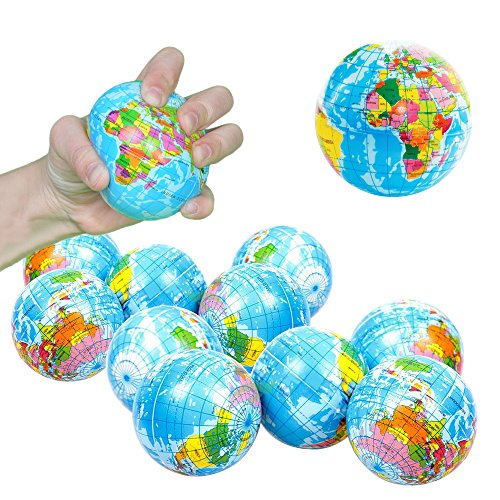Toy Cubby Hand World Map Squeeze Globe Stress Balls - 3 inches, 12 pieces by Toy Cubby