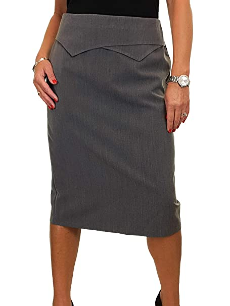Calf Length Washable Lined Pencil Skirt Back Detail Grey Tweed Size 12