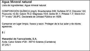 Solares. agua mineral natural solares.5l.: Amazon.es: Alimentación y bebidas