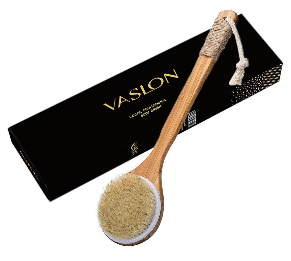 VASLON Natural Boar Bristles Bath Body Brush,Dry Brushing Body Brush, Boar Bristles Exfoliating Body Massager with Long Wooden Handle for Dry Brushing and Shower,Back Brush Scrubbe
