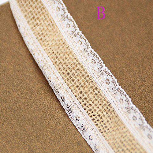 Kuuans Fashion Wedding Favors Party Supplies Natural Hessian Ribbon Lace Trim Edge Jute Burlap