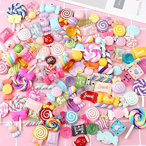 100 Pieces Slime Charms Mixed Candy Sweets Resin Flatback Slime Beads Making Supplies for DIY Scrapbooking Crafts ()