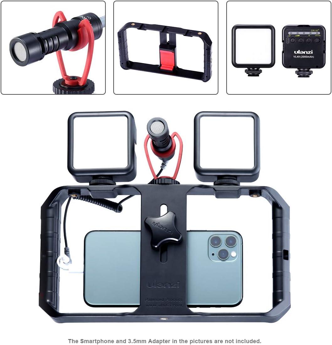 ULANZI Smartphone Video Kit 2 LED Video Light Phone Video Rig Universal Phone Filmmaking Setup YouTube Equipment for iPhone 11 Pro Max XS 8 Samsung Google OnePlus Video Microphone