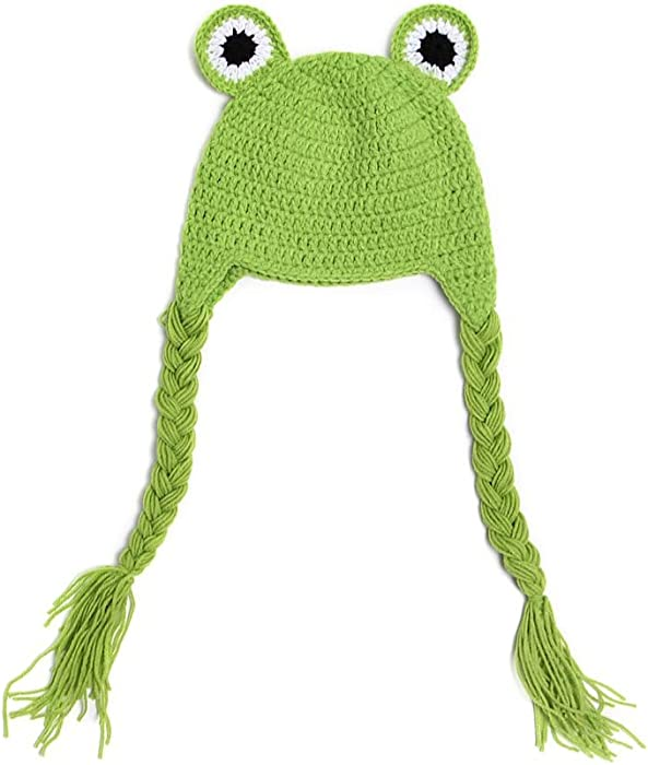 Amazon.com: BIBITIME Newborn Baby Frog Knit Hat Braid Earflap Hat ...