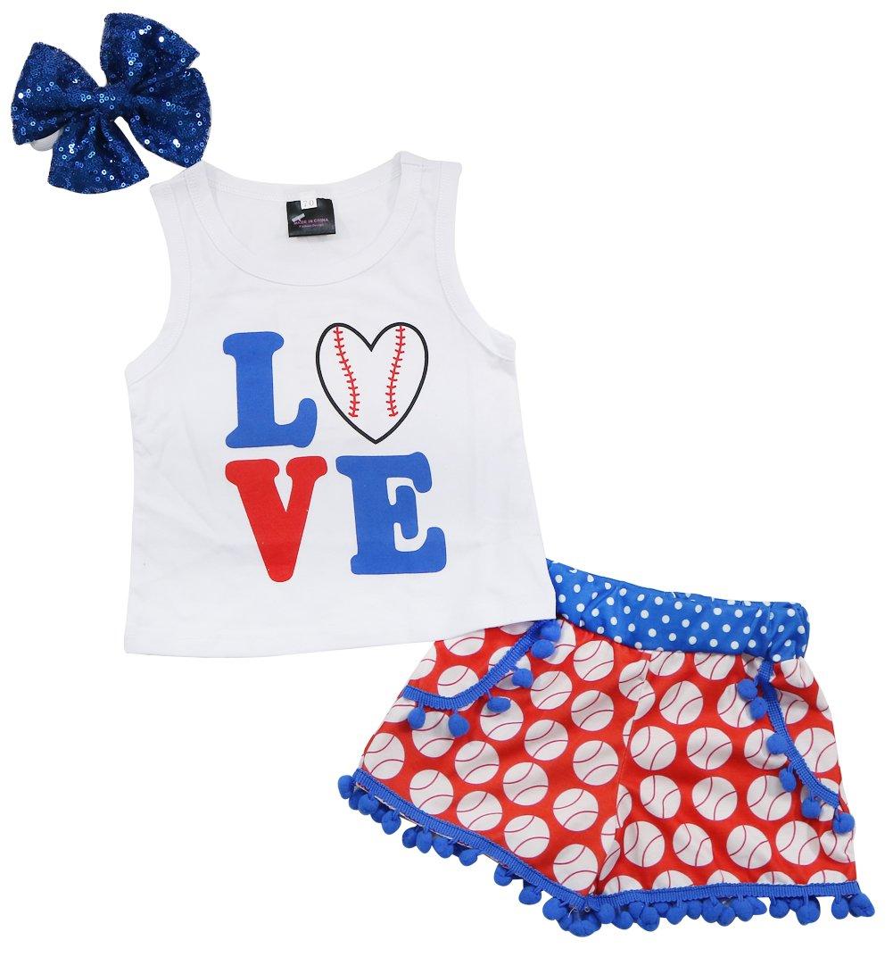 EGELEXY Baby Girls Love Baseball Print Tops T-Shirt+Tassel Shorts Headband Outfits Set Size 12-18 Months/Tag90 (White)