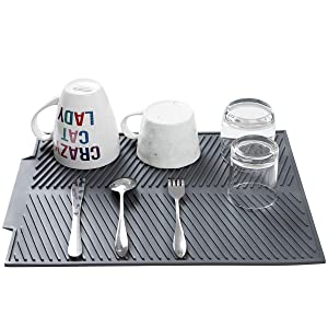"""Premium Silicone Dish Drying Mat - Easy Clean Dishwasher Safe - Heat Resistant Eco-Friendly Trivet Black Large-BPA Free - Compact Storage 17"""" X 13"""" (Grey mat)"""