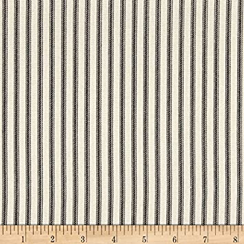 Magnolia home fashions berlin ticking stripe black fabric by the yard