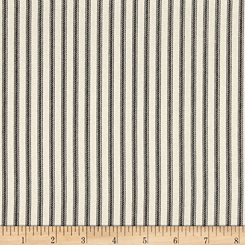 Fashion Fabric Accent Pillow (Magnolia Home Fashions Berlin Ticking Stripe Black Fabric By The Yard)
