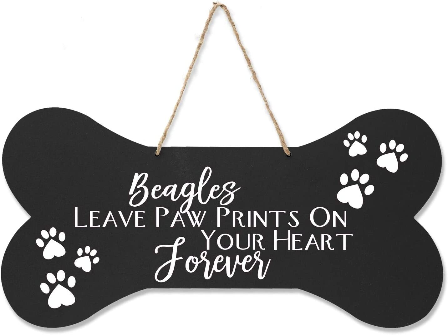 """LifeSong Milestones Beagle Pet Quote Dog Bone Wall Hanging Sign, Dog Lovers Gifts for Women, Dog Owner Gift for Home Decor, 8"""" x 16"""" (Black Leave Paw Prints)"""