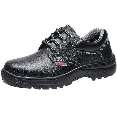 NiSeng Arbeitsschuhe mit Stahlkappe Herren Protector Sicherheitsschuhe Stahl Kappe Schuhe... Kappe Boot Sohle Schutz Schuhe... Kappe c24836