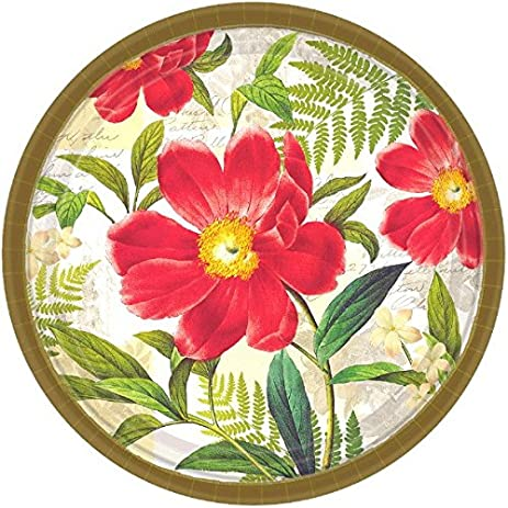 Botanical Peony Dinner Paper Plates Floral Garden Party Disposable Tableware Round 10\u0026quot;  sc 1 st  Amazon.com & Amazon.com: Botanical Peony Dinner Paper Plates Floral Garden ...