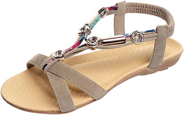 Lurryly Womens Sandals Bohemian Rhinestone Flats Beach Shoes Elastic Clip Toe Slippers