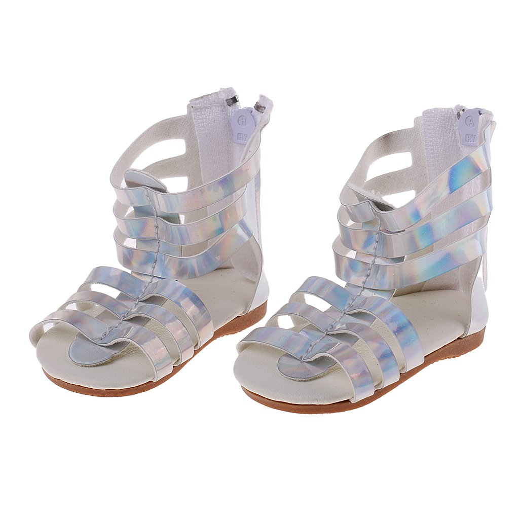 Homyl Silver Dolls Shoes Sandals for 18inch American Doll Doll Our Generation Dolls Summer Clothes Dress Up Flats