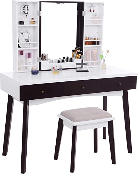 Bewishome Vanity Set With Mirror Cushioned Stool Storage Shelves Makeup Organizer 3 Drawers White Makeup Vanity Desk Dressing Table Fst05w Kitchen Dining