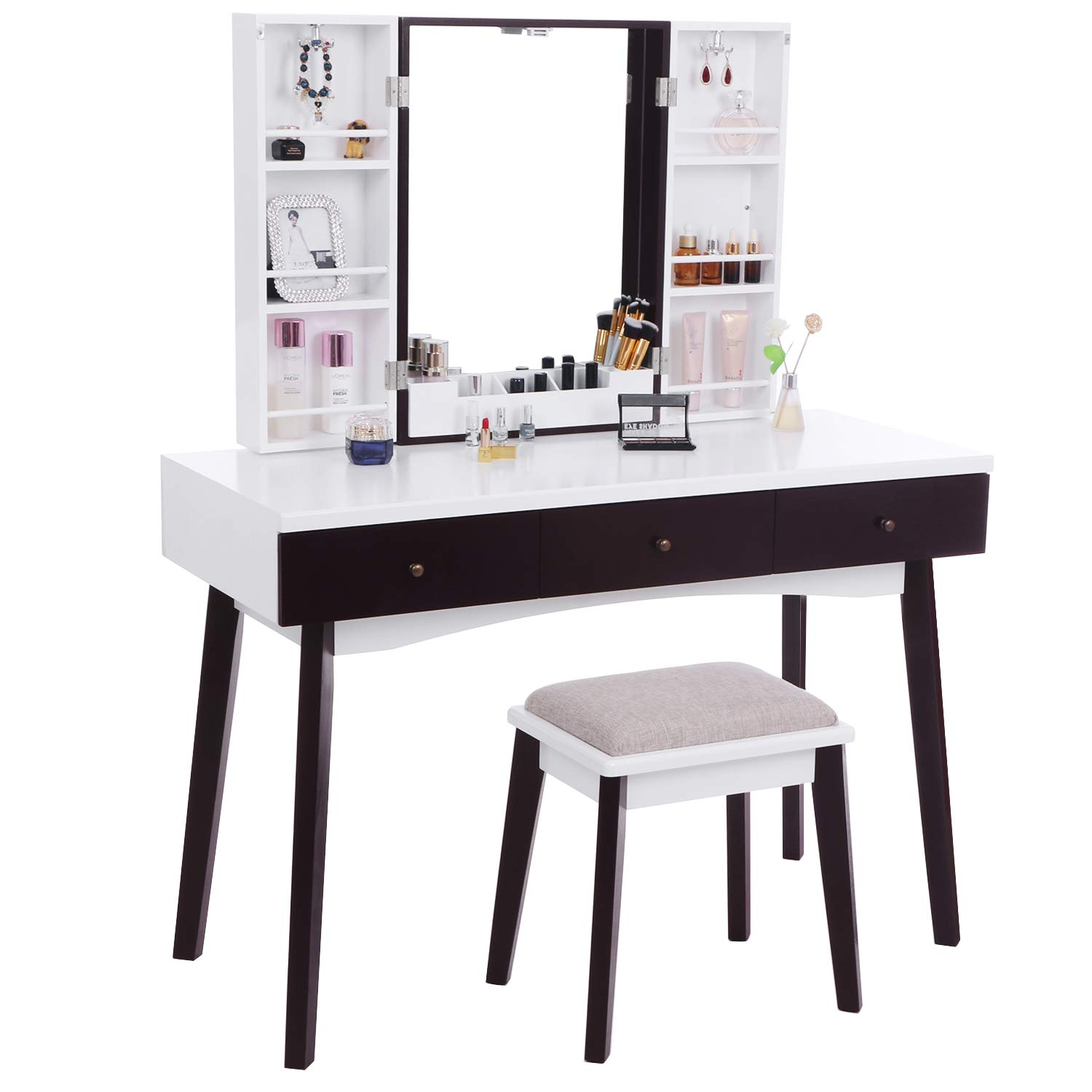 BEWISHOME Vanity Set with Mirror, Cushioned Stool, Storage Shelves, Makeup Organizer, 3 Drawers White Makeup Vanity Desk Dressing Table FST05W by BEWISHOME