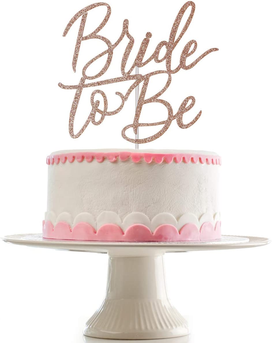 Bride To Be Cake Topper for Bachelorette Party,Wedding,Bridal Shower Party,Bachelorette Party Cake Decor (Rose Gold Glittery)