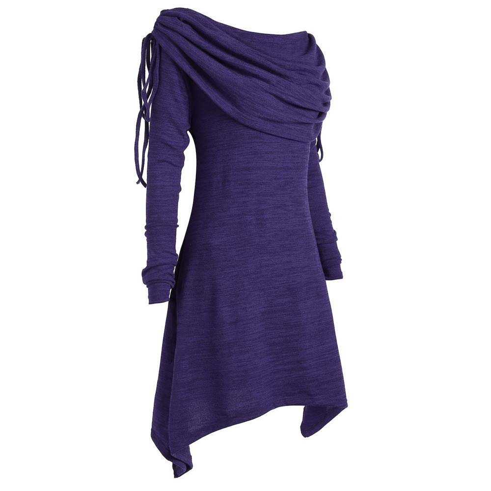 GOVOW Autumn Long Sleeve Womens Casual Fashion Solid Ruched Long Foldover Collar Tunic Blouse Tops(US:8/CN:XL,Purple) by GOVOW (Image #2)