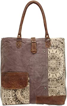 Amazon Com Myra Bags Floral Side Upcycled Canvas Tote Bag S 0733 Tan Khaki Brown One Size What's in my tote bag? myra bags floral side upcycled canvas tote bag s 0733 tan khaki brown one size
