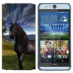 TECHCASE---Cubierta de la caja de protección para la piel dura ** HTC Desire Eye ( M910x ) ** --Sky Horse Mustang Stallion Naturaleza Pintura